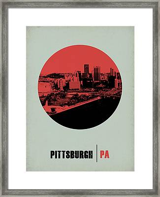 Pittsburgh Circle Poster 2 Framed Print by Naxart Studio