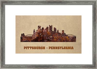 Pittsburgh City Skyline Rusty Metal Shape On Canvas Framed Print
