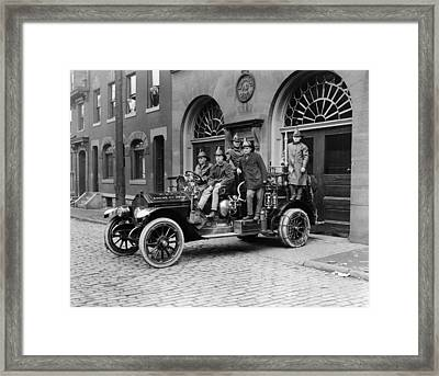 Pittsburgh Fire Truck Framed Print by Underwood Archives
