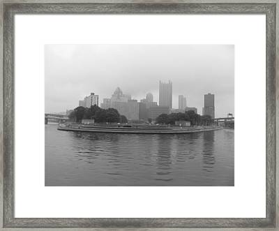 Pittsburgh In The Clouds Framed Print by Sonia Bruno
