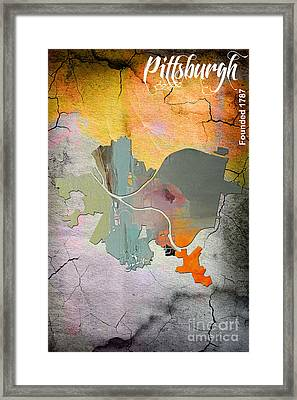 Pittsburgh Map Watercolor Framed Print by Marvin Blaine