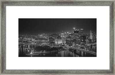 Pittsburgh Night Black And White Framed Print