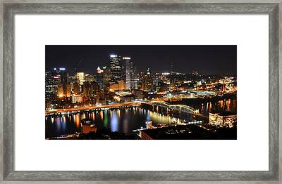 Pittsburgh Night Panorama Framed Print by Frozen in Time Fine Art Photography