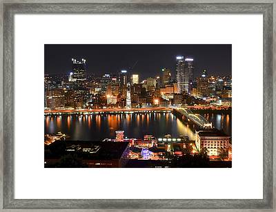 Pittsburgh Over The Monongahela Framed Print by Frozen in Time Fine Art Photography