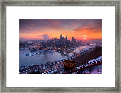 Pittsburgh Skyline Winter 2 Framed Print by Emmanuel Panagiotakis