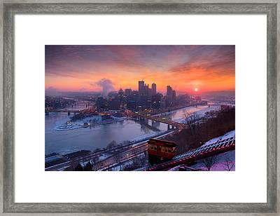 Pittsburgh Skyline Winter 2 Framed Print by Emmanuel Panagiotakis