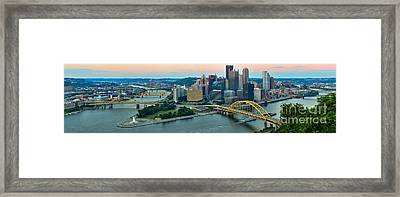 Pittsburgh Panorama At Dusk Framed Print