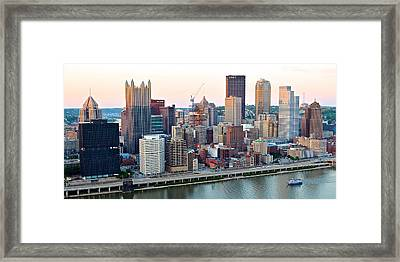 Pittsburgh Panorama Over The Monongahela Framed Print by Frozen in Time Fine Art Photography