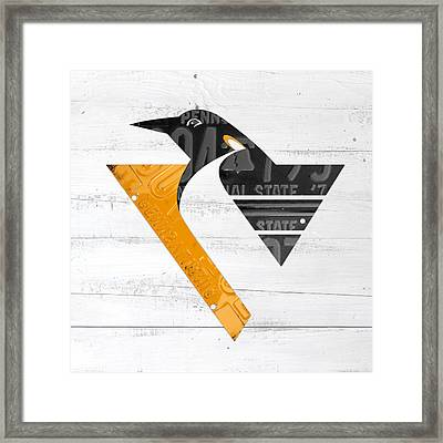 Pittsburgh Penguins Hockey Team Retro Logo Vintage Recycled Pennsylvania License Plate Art Framed Print