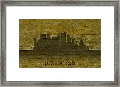Pittsburgh Pennsylvania City Skyline Silhouette Distressed On Worn Peeling Wood Framed Print