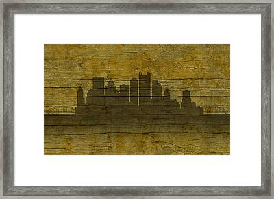 Pittsburgh Pennsylvania City Skyline Silhouette Distressed On Worn Peeling Wood No Name Version Framed Print