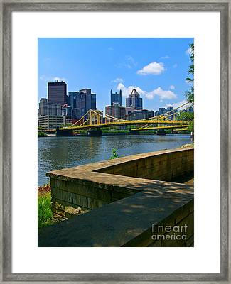 Pittsburgh Pennsylvania Skyline And Bridges As Seen From The North Shore Framed Print