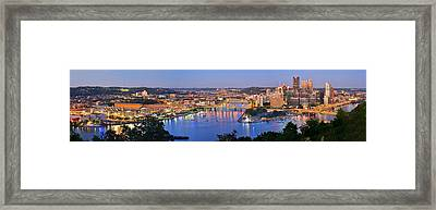 Pittsburgh Pennsylvania Skyline At Dusk Sunset Extra Wide Panorama Framed Print