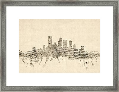 Pittsburgh Pennsylvania Skyline Sheet Music Cityscape Framed Print by Michael Tompsett