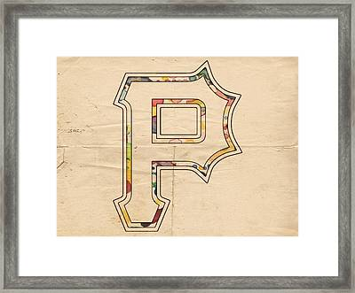 Pittsburgh Pirates Logo Art Framed Print by Florian Rodarte