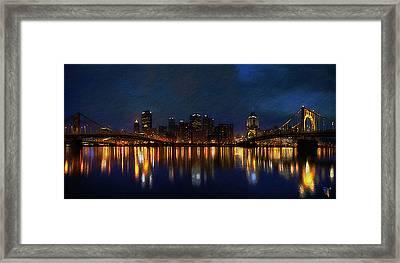 Pittsburgh Skyline 2 Framed Print by  Fli Art