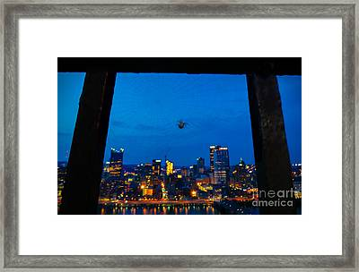 Pittsburgh Skyline At Night Framed Print