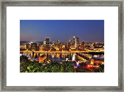 Pittsburgh Skyline At Night Framed Print by Shawn Everhart
