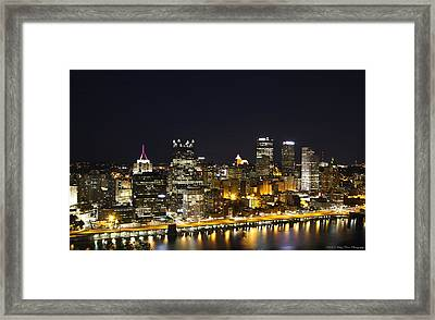 Pittsburgh Skyline Framed Print by Kathy Ponce