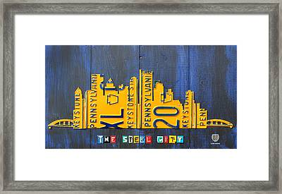Pittsburgh Skyline License Plate Art Framed Print by Design Turnpike