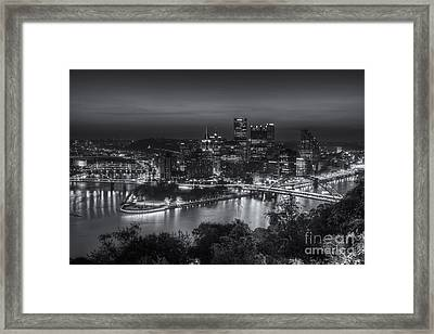 Pittsburgh Skyline Morning Twilight II Framed Print by Clarence Holmes