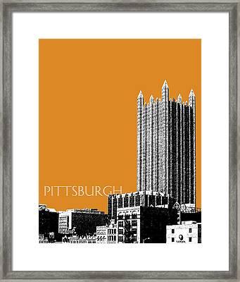 Pittsburgh Skyline Ppg Building - Dark Orange Framed Print