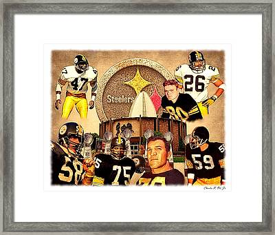Pittsburgh Steelers Nfl Hall Of Fame Defensive Legends Framed Print by Charles Ott