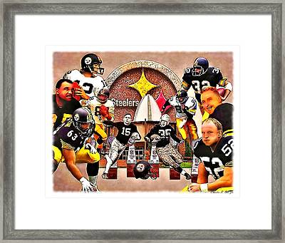 Pittsburgh Steelers Nfl Hall Of Fame Offensive Legends Framed Print by Charles Ott