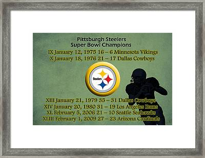 Pittsburgh Steelers Super Bowl Wins Framed Print by Movie Poster Prints