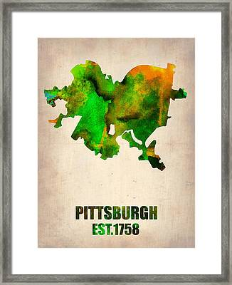 Pittsburgh Watercolor Map Framed Print