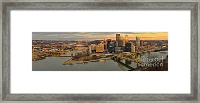 Pittsburgh Winter Sunset Panorama Framed Print