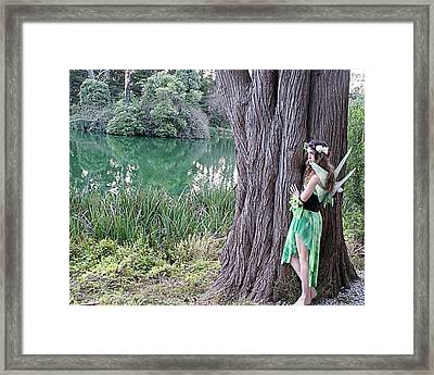 Pixie At A Tree Framed Print