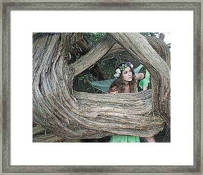 Pixie Looking Through Tree Framed Print