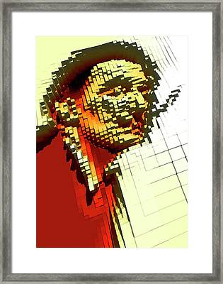 Pixilated Face Framed Print by Victor Habbick Visions