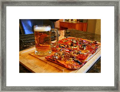 Pizza And Beer Framed Print