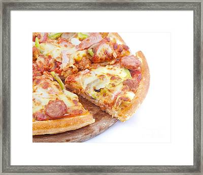 Pizza Framed Print by Anek Suwannaphoom