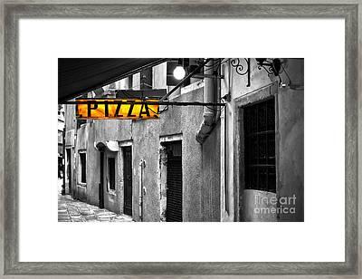 Pizza In Venice Framed Print by John Rizzuto