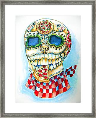 Pizza Sugar Skull Framed Print