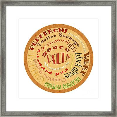 Pizza Typography 2 Framed Print
