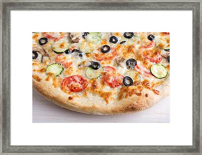 Pizza With Cheese And Vegetables Framed Print