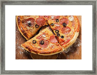 Pizza With Salami, Cheese And Olives, Pieces Cut Framed Print