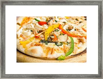 Pizza With Seafood Framed Print