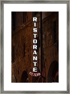 Framed Print featuring the photograph Pizzeria by Avian Resources