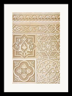 Relief Carved Florals Framed Prints