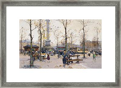 Place De La Bastille Paris Framed Print by Eugene Galien-Laloue