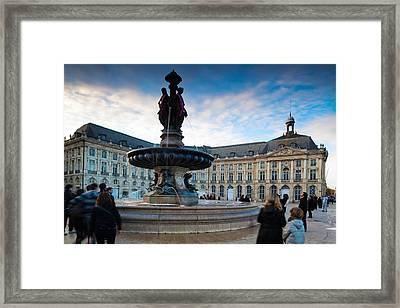 Place De La Bourse Buildings At Dusk Framed Print