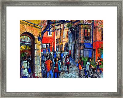 Place Du Petit College In Lyon Framed Print by Mona Edulesco