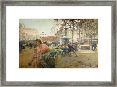 Place Du Theatre Francais Paris Framed Print by Eugene Galien-Laloue