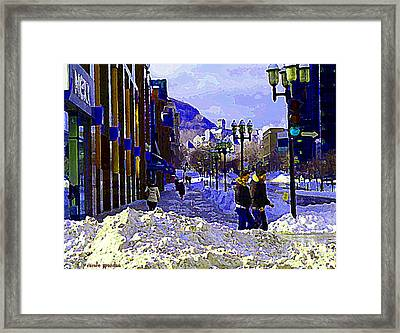 Place Montreal Trust St Catherine And Mcgill College Wintry Walk From Campus City Scene C Spandau Framed Print by Carole Spandau
