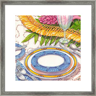 Place Setting With Ginger Lei Framed Print by Tammy Yee